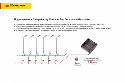 Электр. миниатюрные фонари М1:200. (Набор 10 шт.)