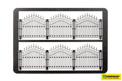 Чёрный металлический забор для диорамы. H = 58 mm.