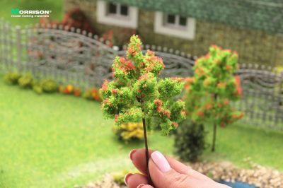 Красное цветущее дерево для макета. Высота 10 см.