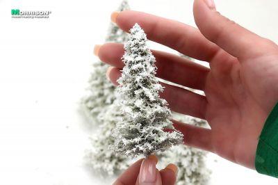 Реалистичные зимние ели для макетов и диорам (набор 5 штук).