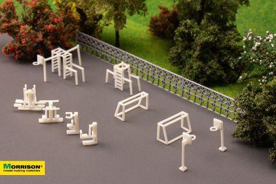 Спортивная площадка для макета в масштабе 1:150 (Набор 10 элементов)