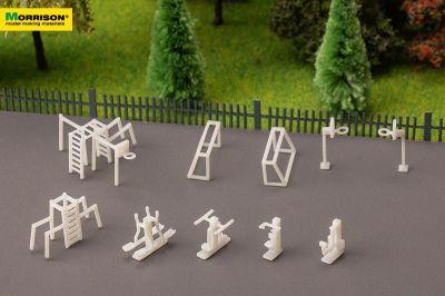 Спортивная площадка для макета в масштабе 1:200 (Набор 10 элементов)