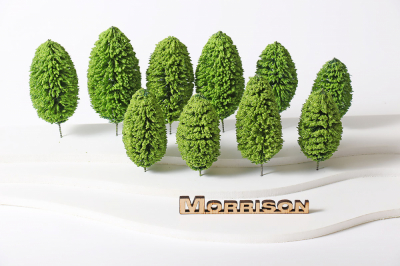 Деревья 10-15 см. для архитектурных макетов. Набор 10 шт.