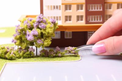 Комковой фолиаж. Сиреневые цветы для макета.